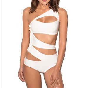 Other - White cut-out one-piece swimsuit